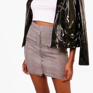 Dresses & Skirts - Checkered Plaid Zip Down Mini Bodycon Skirt